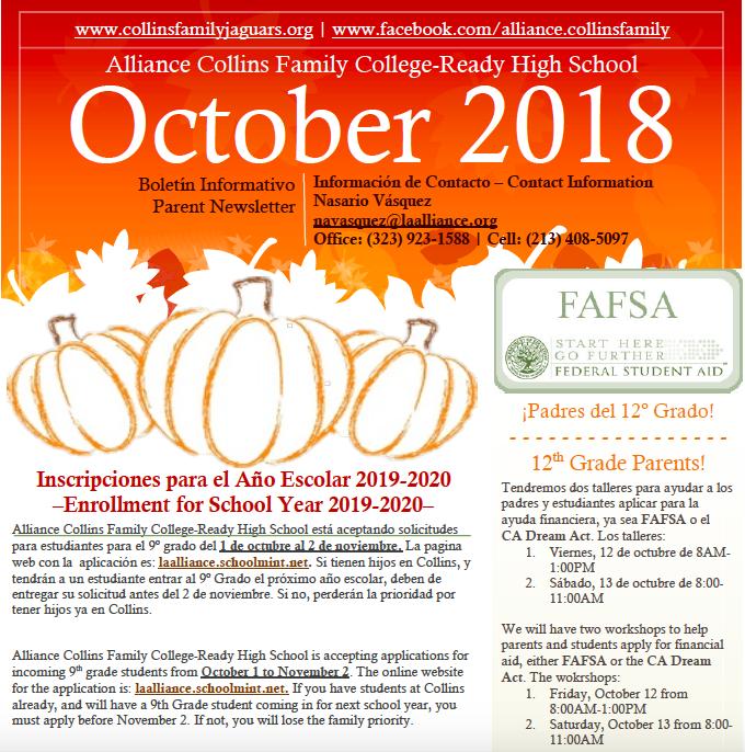Parent Newsletter-October | Boletín de Padres-Octubre Thumbnail Image