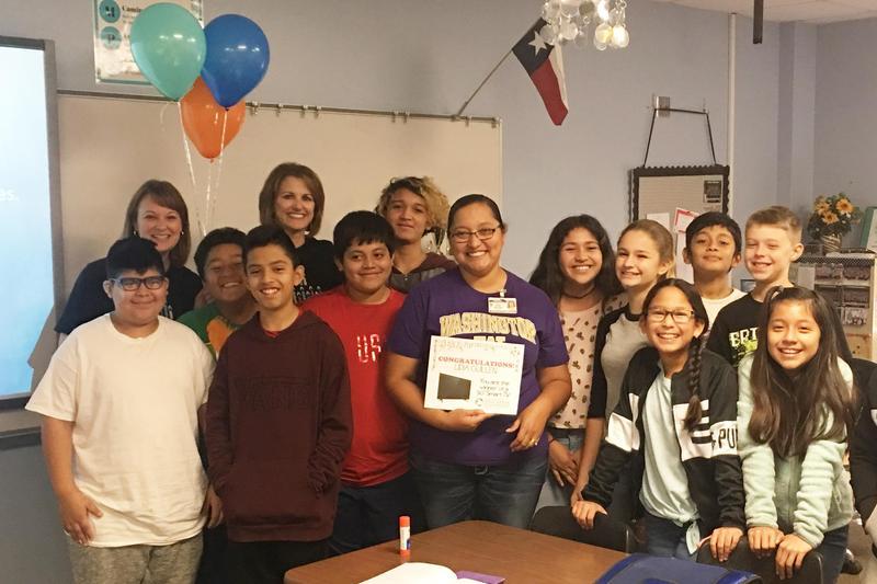 Photograph of Lidia Guillen, an Oakwood Intermediate 6th grade dual language social studies teacher, won the 50