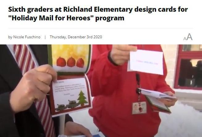 Sixth graders at Richland Elementary design cards for