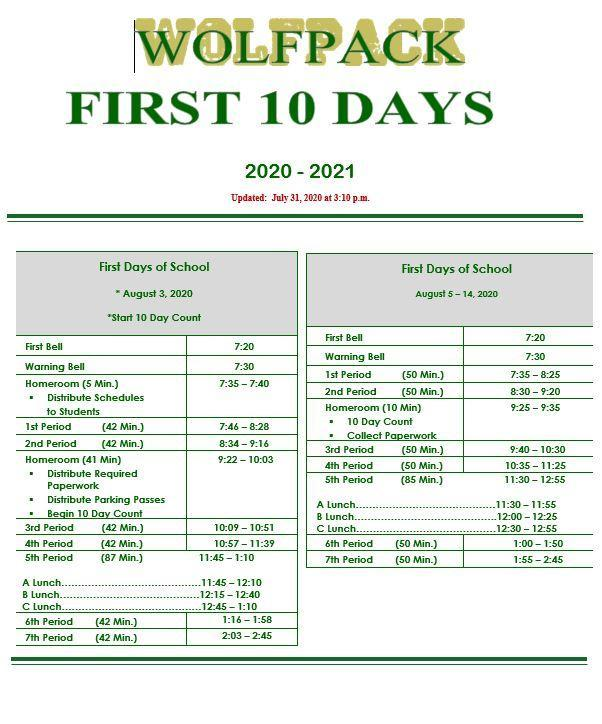 first 10 day bell schedule