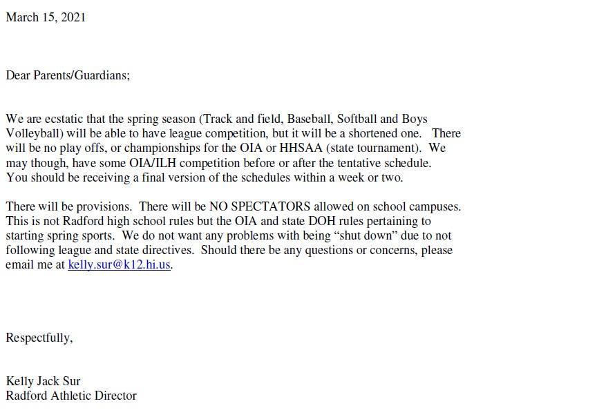 Spring Sports Parent Letter