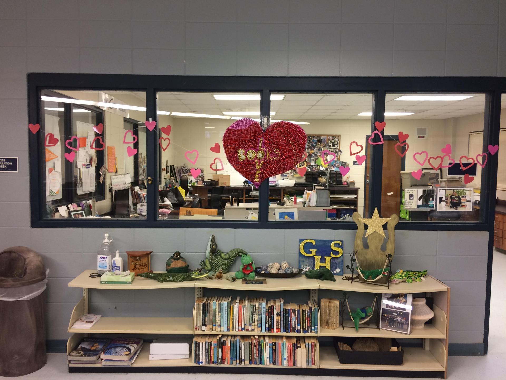 Heart display behind counter