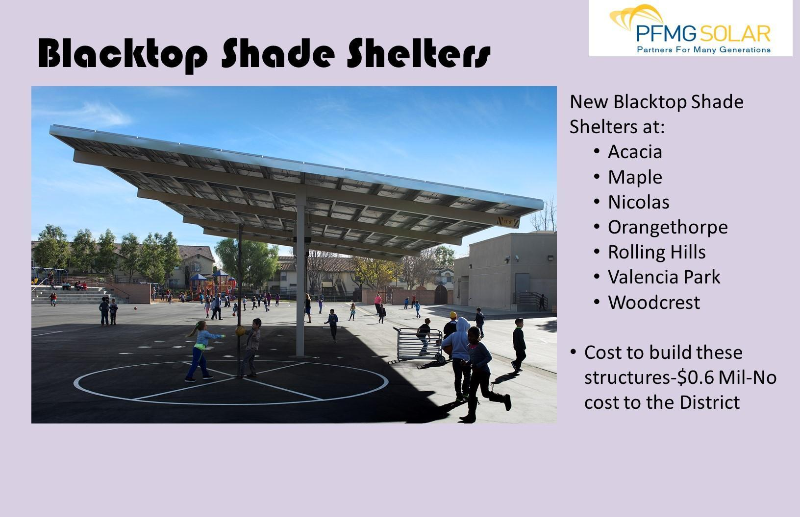 Blacktop Shade Shelters