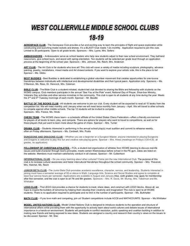 Check out the 2018-19 WCMS Club Fair Flyer! Featured Photo