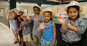Students at B-L Primary School show off the safari hats that guests on the TransformSC Bus Tour will receive as they make their way to the school on Thursday, September 26th.  BLPS is one of three schools being highlighted for its strides in transforming education in South Carolina.