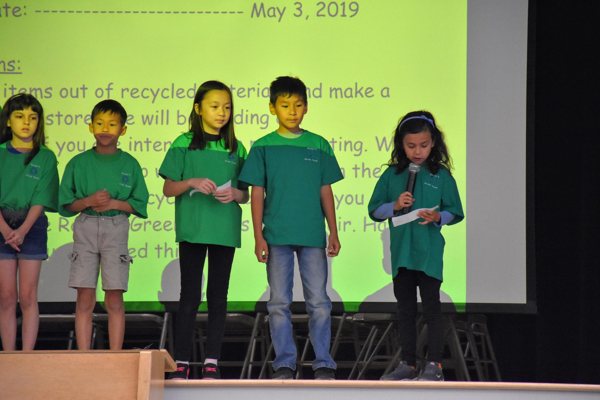 Rocky's Green Team Presenting at a Leader in Me Assembly