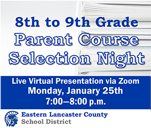 8th Grade to 9th Grade Parent Course Selection Presentation Banner Image