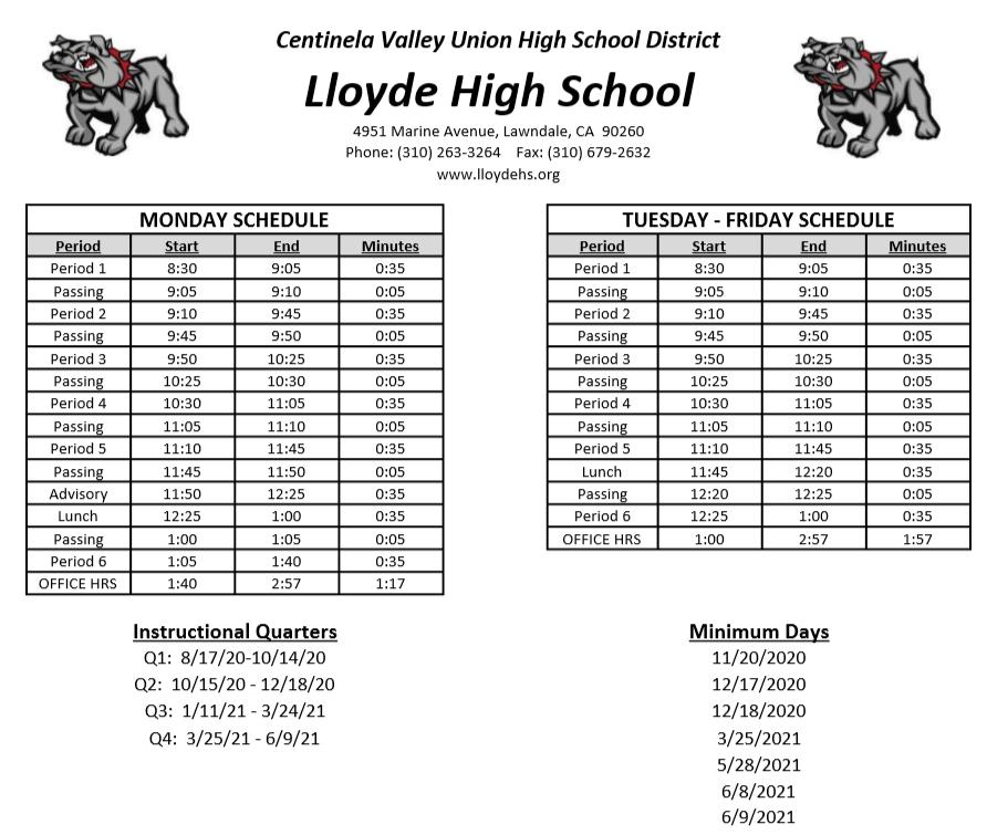 Lloyde Bell Schedule