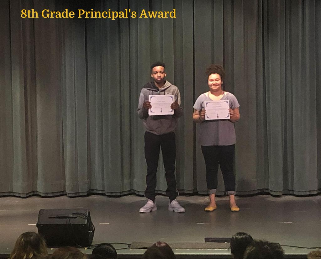 8th Grade Principal's Award winners