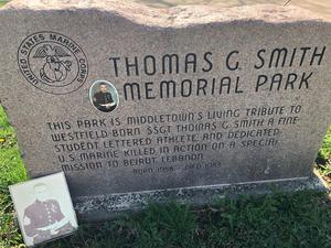 Headstone at Thomas Smith Memorial Park in Middletown. Smith was killed in service to the country in 1983.