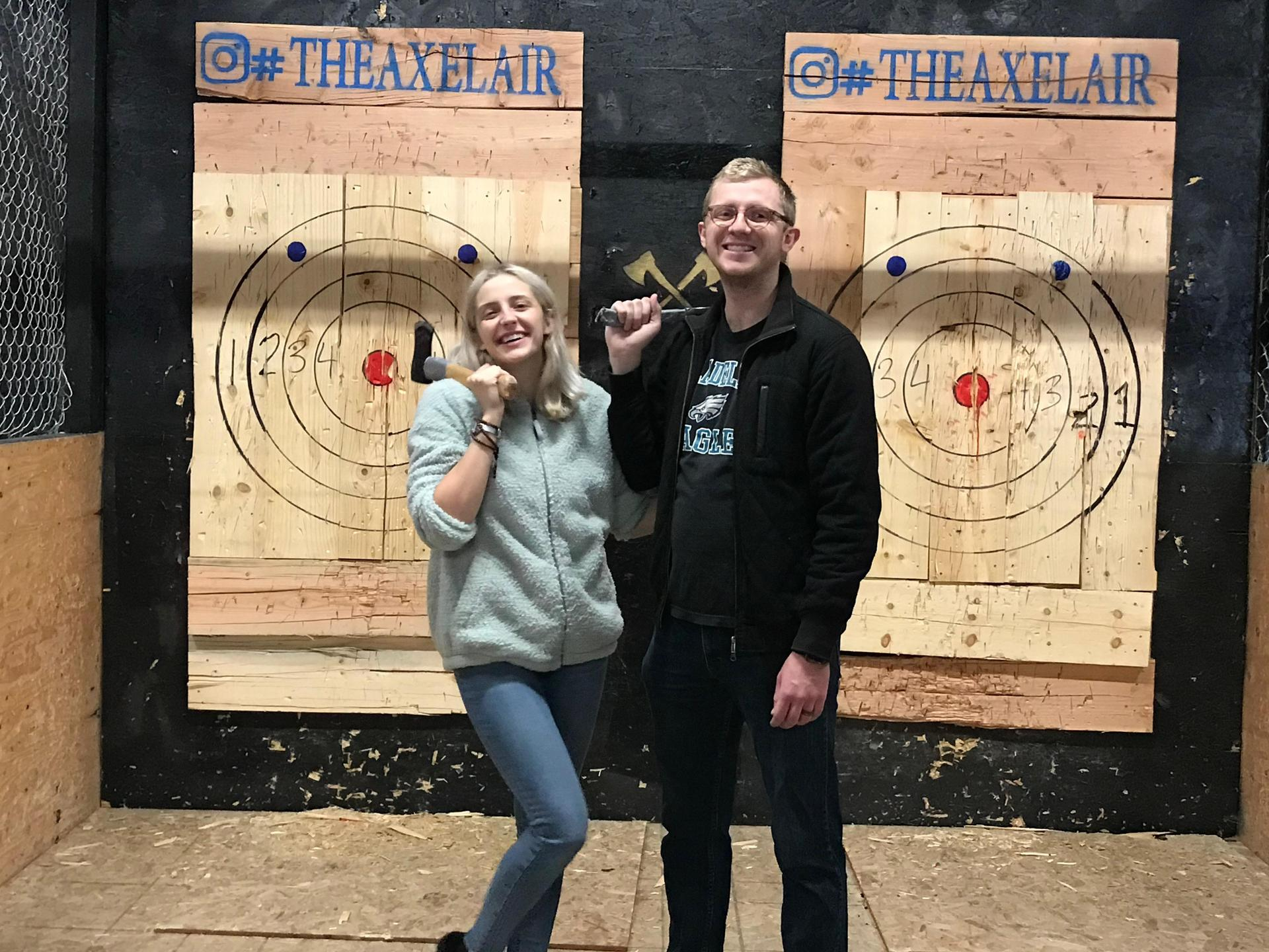 My son and youngest daughter (Luke and Mary). We were throwing axes at targets!