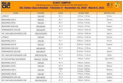 ESL Class Schedule