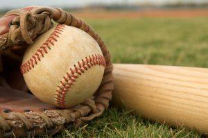 baseball bat, glove, and ball