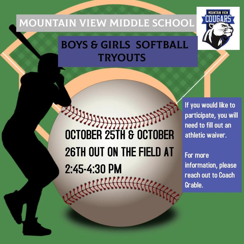 MVMS Cougars Boy & Girls Softball Tryouts Featured Photo