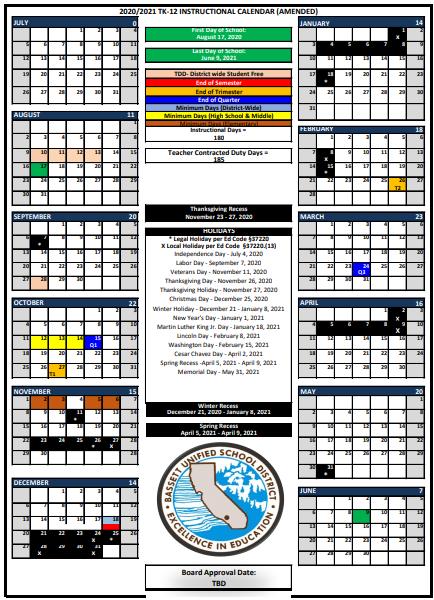 Instructional Calendar SY 20-21 * Calendario de instrucción SY 20-21 Featured Photo