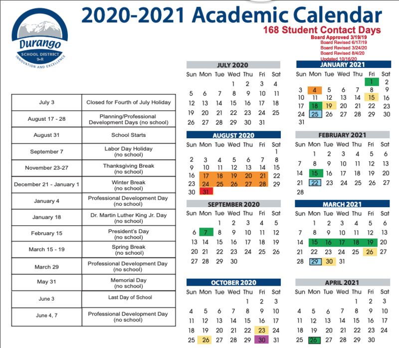 Screenshot of an academic calendar
