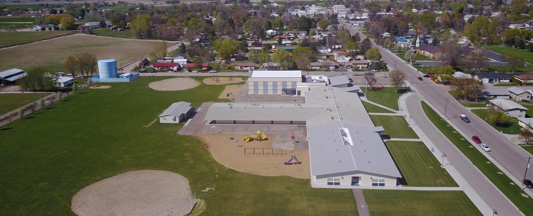 New Plymouth Elementary School aerial view