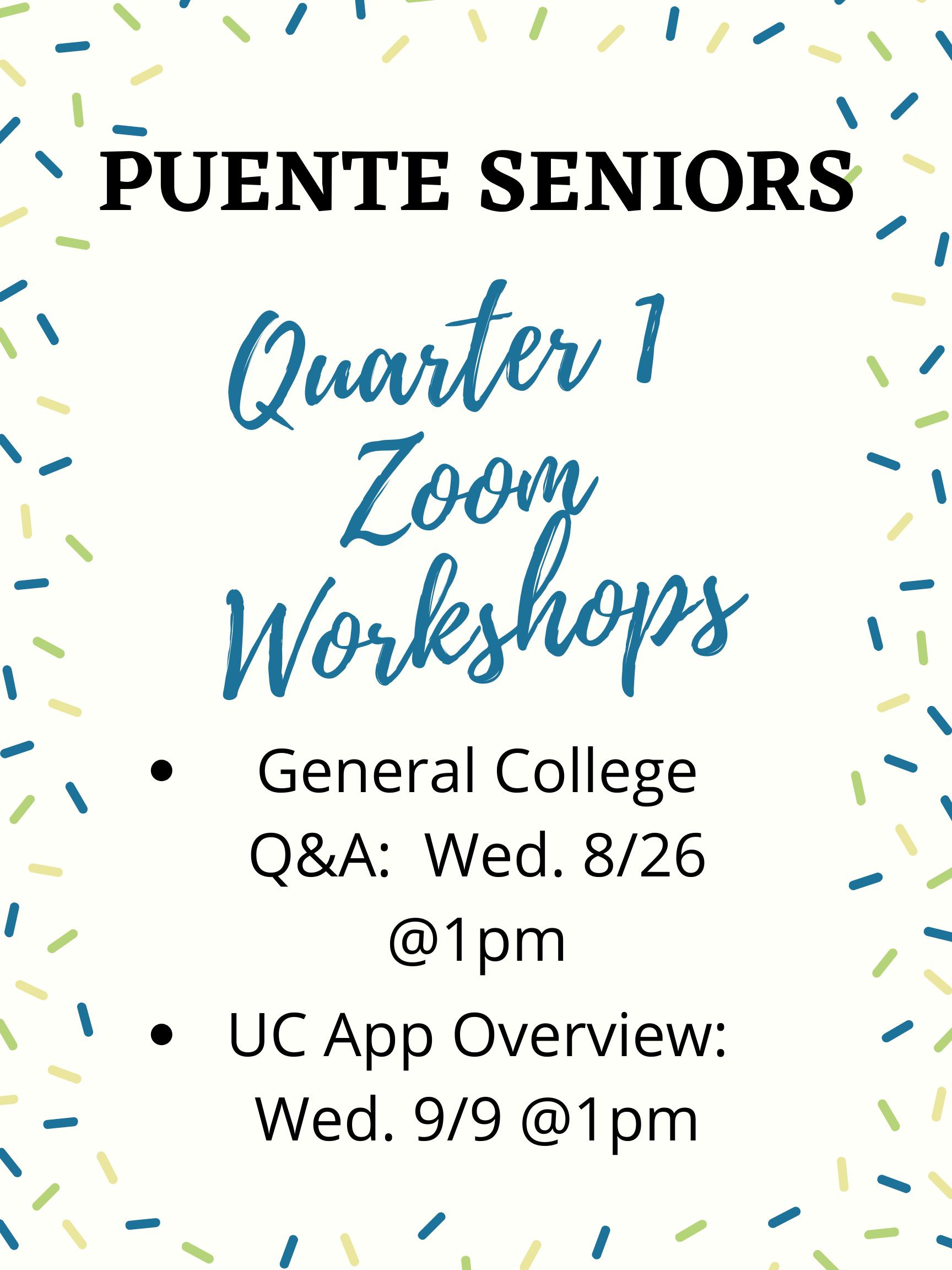 Senior Q1 Workshops