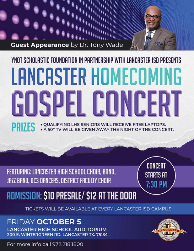 Purchase Your Tickets for the Lancaster ISD Homecoming Benefit Concert Thumbnail Image