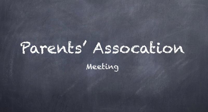 Parents Association Meeting on chalkboard