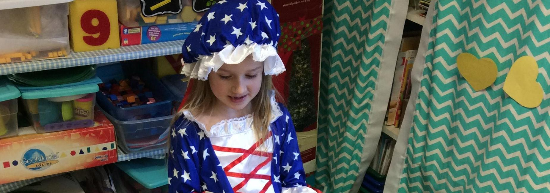 Student dressed as Betsy Ross