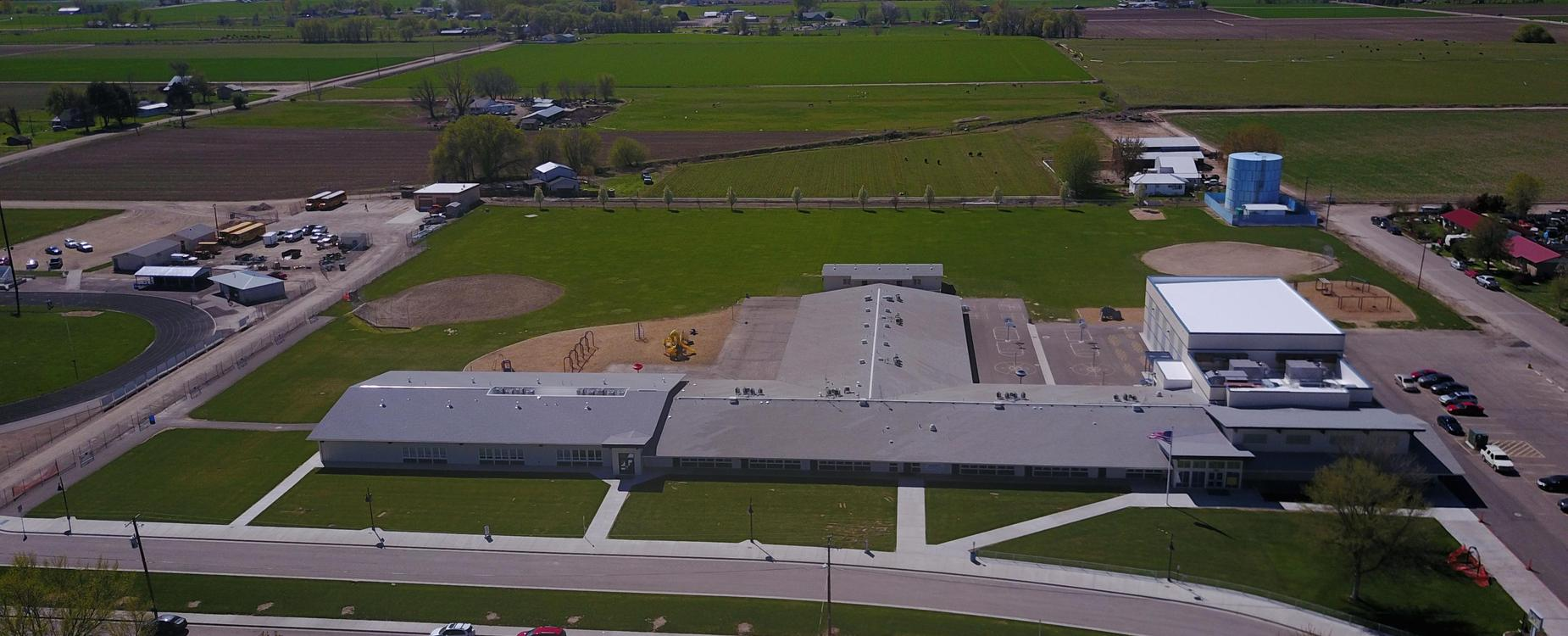 New Plymouth Elementary School aerial view front