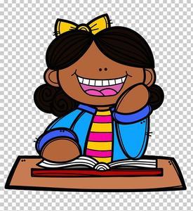 smiling cartoon girl sitting at desk