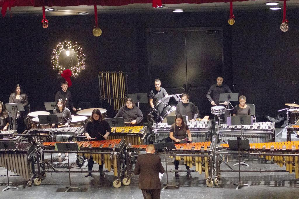 A wide angle, front view of the percussion ensemble