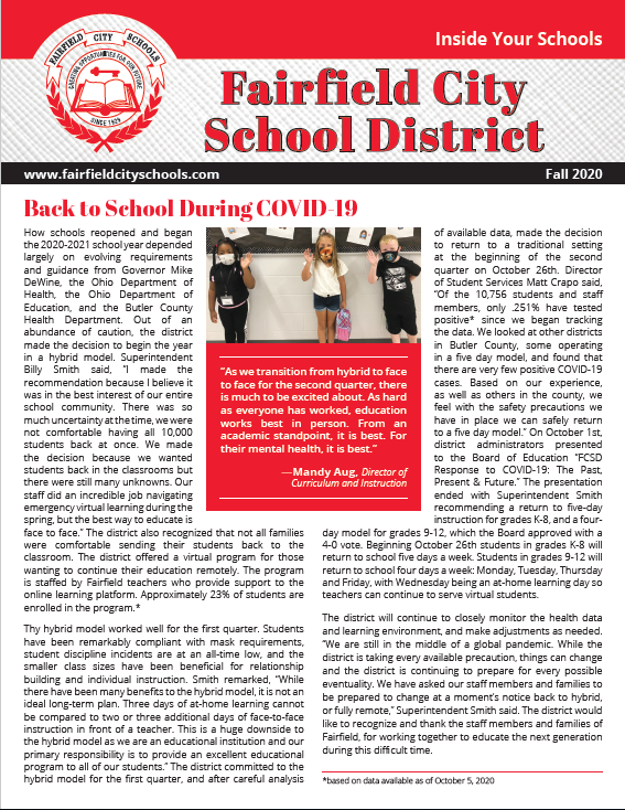 Photo of the cover page of the newsletter titled 'Inside Your Schools.' Photo shows three elementary school students wearing masks and waving.