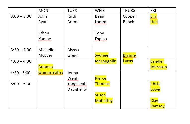 Radio Club Schedule