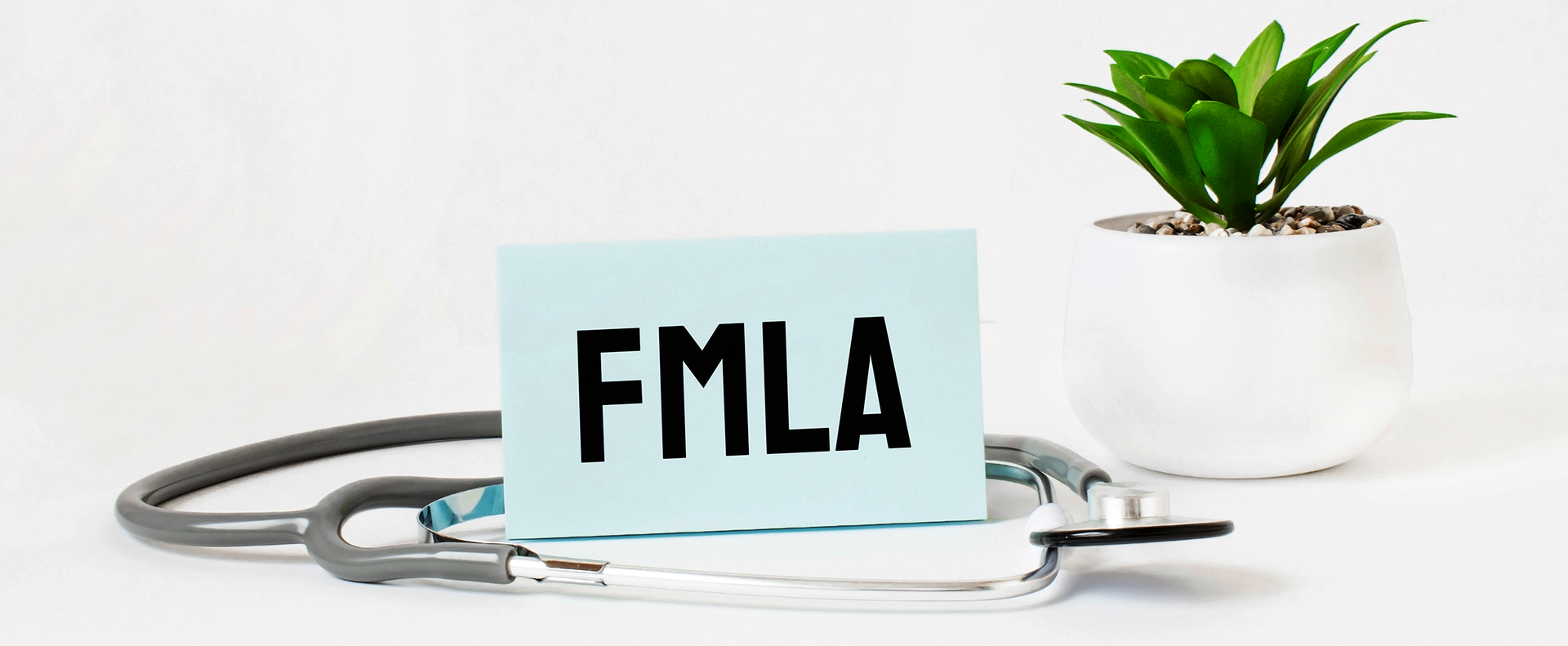 FMLA word on notebook,stethoscope and green plant