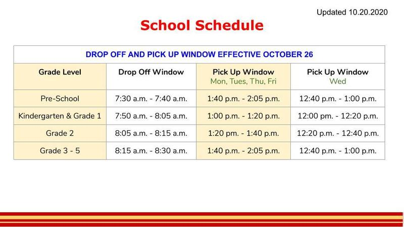Updated Drop Off and Pick Up Schedule Featured Photo
