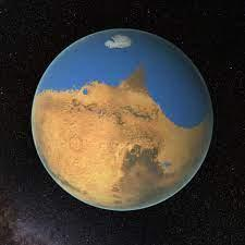 NASA rendering of Mars with water