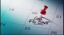 Image of a calendar noting flu shot.
