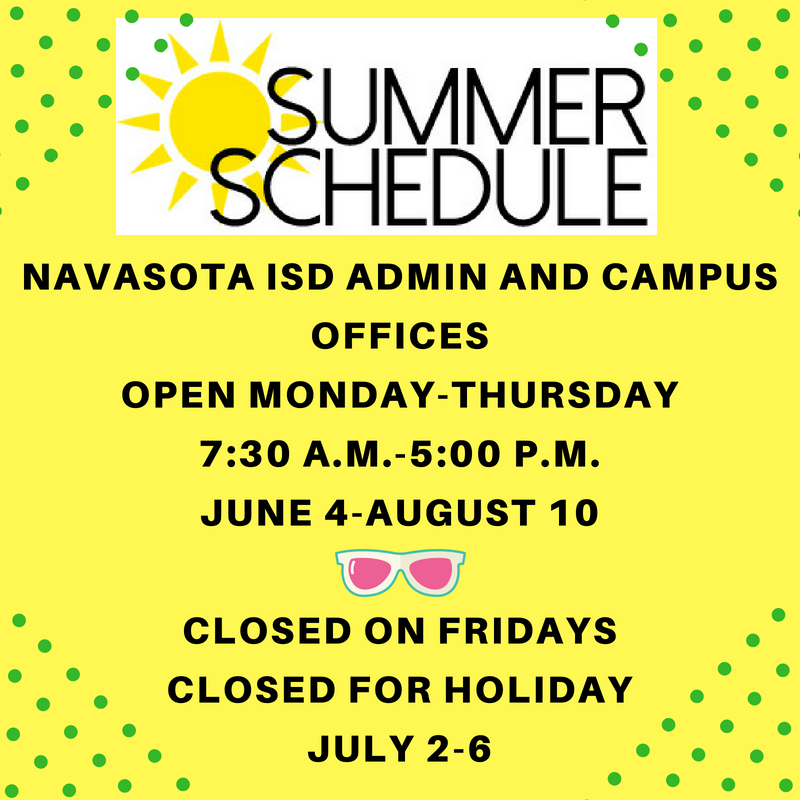 NISD SUMMER SCHEDULE Featured Photo
