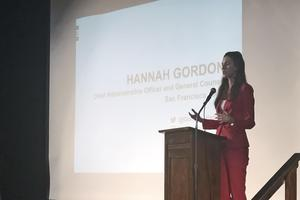Hannah Gordon at the podium in the aud