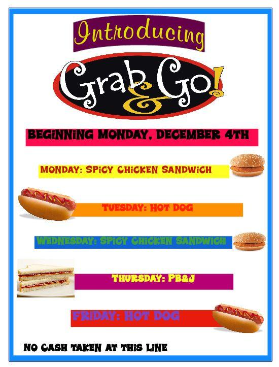 Grab and Go Lunch Menu