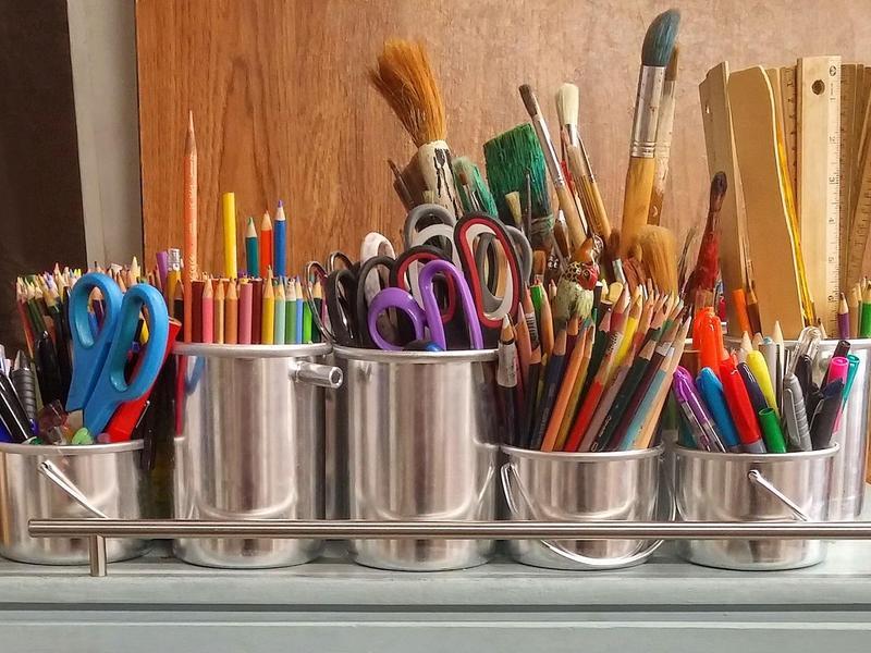 School supplies in jars