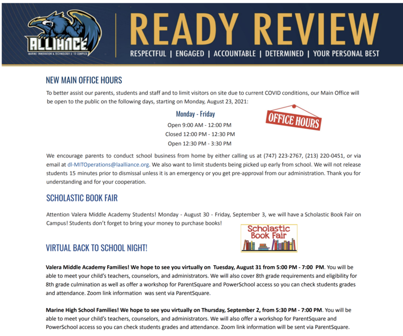 READY Review: August 30 - September 3, 2021 Thumbnail Image