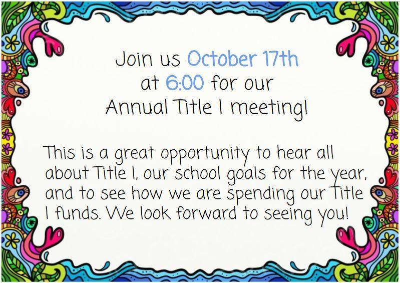 WES Title I meeting