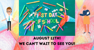 picture with the information about the first day of school