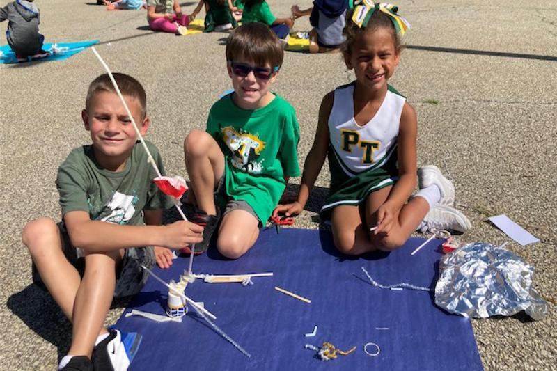 students complete STEAM activity
