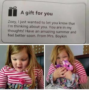 Zoey reading a letter from her teacher!