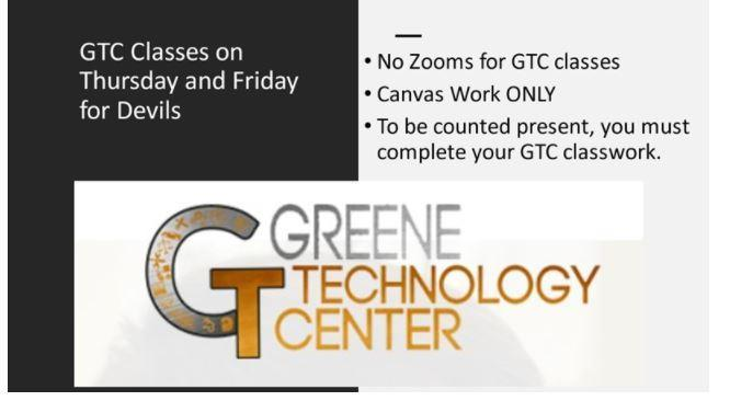 Greene Tech Center daily Instruction for 1/7 1/8