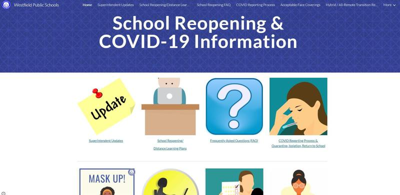 Screenshot of COVID Information page on district website.