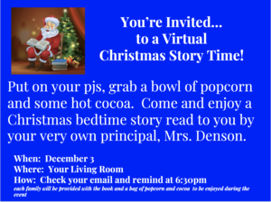 Hardy Virtual Reading Event December 3rd from the comfort of your home. Check your email at 6:30 for a link to the book.