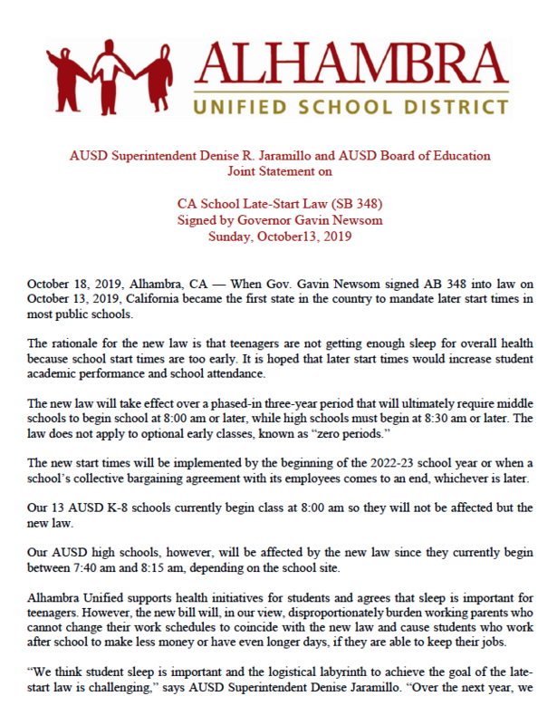 AUSD Superintendent Denise R. Jaramillo and AUSD Board of Education Joint Statement on CA School Late-Start Law (SB 348) Featured Photo