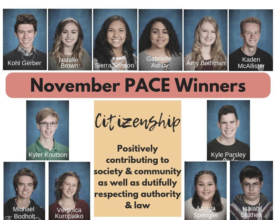 November PACE Winners