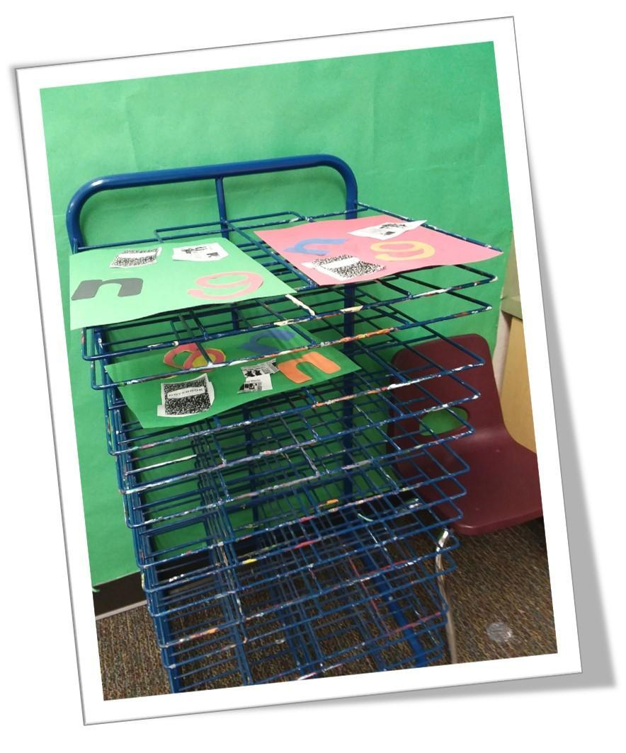 Picture of crafts drying on rack
