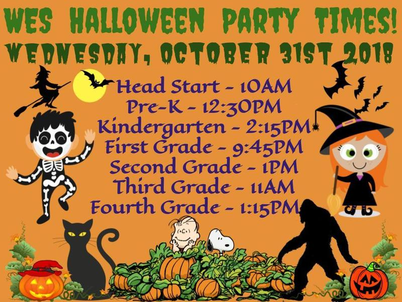 WES Halloween Parties Times 2018